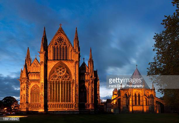 Lincoln Cathedral south transept floodlit