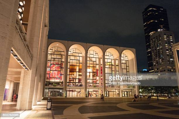 Lincoln Center at night with plaza and buildings visible in Manhattan New York City New York September 14 2017