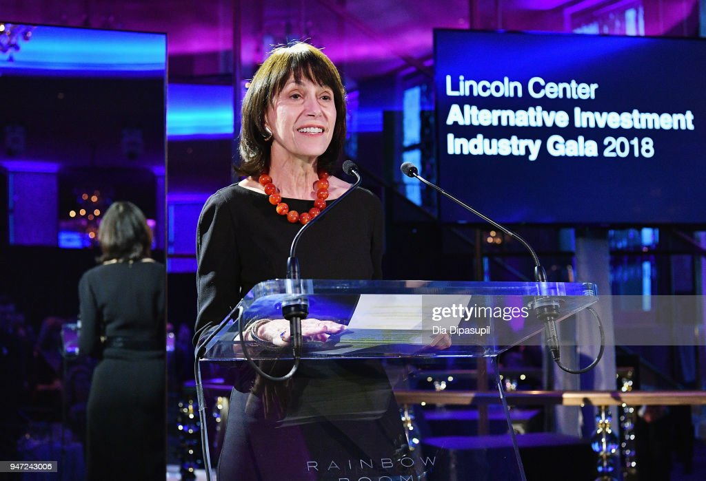 Lincoln Center Chair Katherine Farley speaks onstage during the Lincoln Center Alternative Investment Gala on April 16, 2018 at The Rainbow Room in New York City.