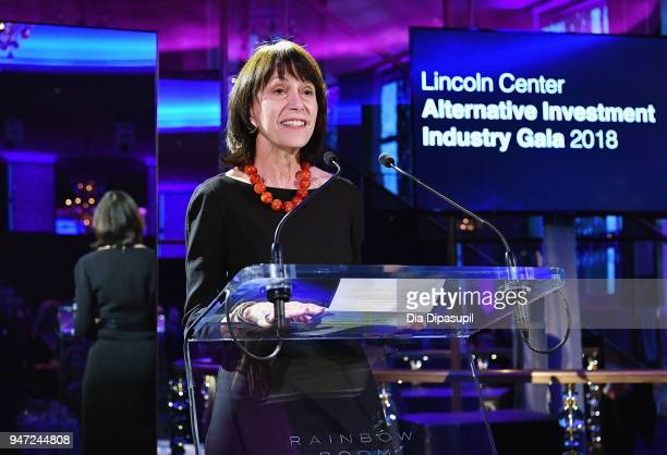 Lincoln Center Chair Katherine Farley speaks onstage during the Lincoln Center Alternative Investment Industry Gala on April 16 2018 at The Rainbow...