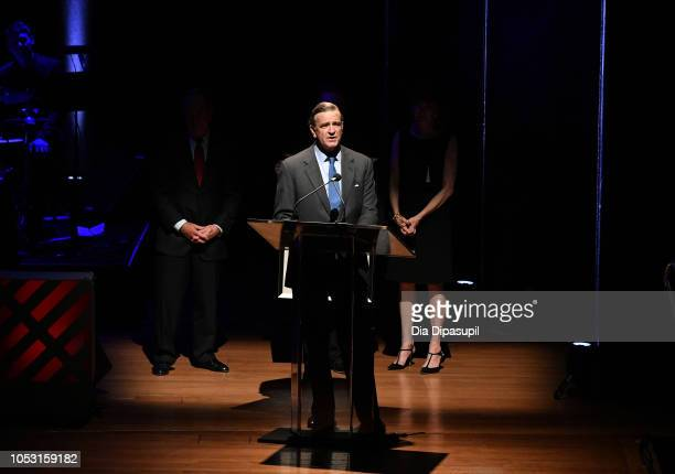 Lincoln Center Distinguished Service Award recipient Robert K Steel accepts his award on stage during Lincoln Center Fall Gala at Alice Tully Hall on...