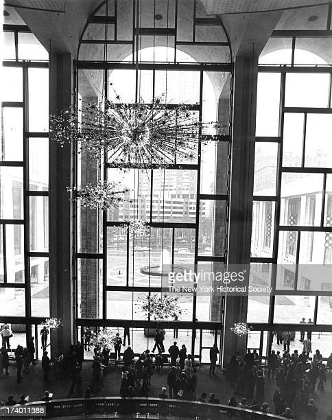 Lincoln Center, Grand Lobby of the Metropolitan Opera, looking out, New York, New York, 1984.