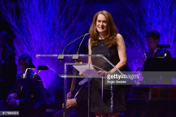Lincoln Center Presaident Debora L Spar speaks onstage at the Winter Gala at Lincoln Center at Alice Tully Hall on February 13 2018 in New York City