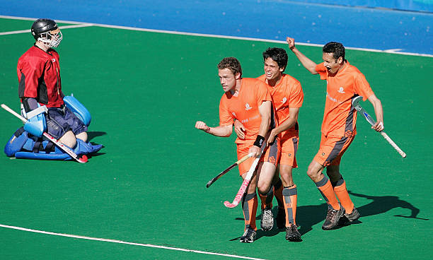 1fd76de23ca Lincoln Churchill (C) of Midlands is congratulated by team mates after  scoring a goal