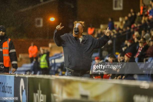 Lincoln City fan during the Sky Bet League 2 match between Bury and Lincoln City at Gigg Lane Bury on Saturday 26th January 2019