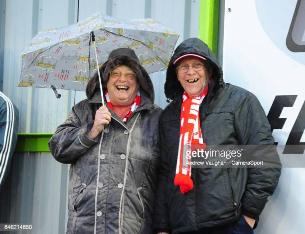 Lincoln City fans enjoy the prematch atmosphere prior to the Sky Bet League Two match between Forest Green Rovers and Lincoln City at The New Lawn on...