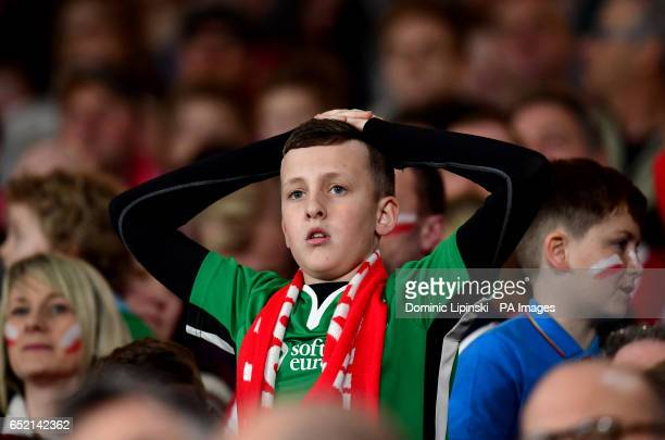 Lincoln City fans in the crowd look dejected during the Emirates FA Cup quarter final at The Emirates Stadium London