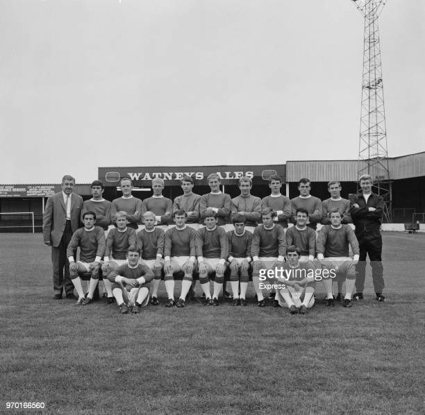 Lincoln City FC, group portrait, UK, 8th August 1967; the team are manager Ron Gray, trainer Bert Loxley, George Peden, Jim Grummett, Clive Ford,...