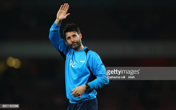 Lincoln City manager Danny Cowley acknowledges the fans after The Emirates FA Cup QuarterFinal match between Arsenal and Lincoln City at Emirates...