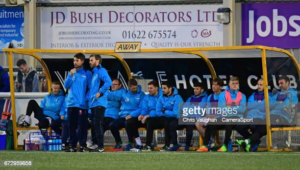 Lincoln City manager Danny Cowley and assistant manager Nicky Cowley in front of the Lincoln City bench during the Vanarama National League match...