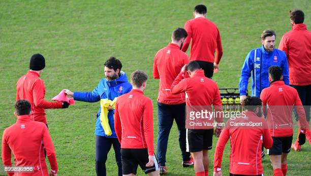 Lincoln City manager Danny Cowley and Lincoln City's assistant manager Nicky Cowley during the prematch warmup prior to the Sky Bet League Two match...