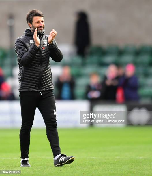Lincoln City manager Danny Cowley applauds the fans following the Sky Bet League Two match between Lincoln City and Crewe Alexandra at Sincil Bank...