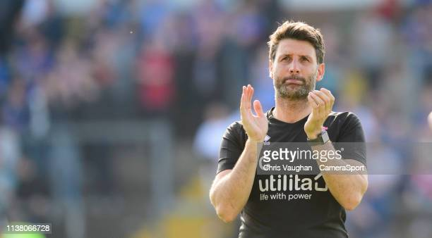 Lincoln City manager Danny Cowley applauds the fans following the Sky Bet League Two match between Carlisle United and Lincoln City at Brunton Park...