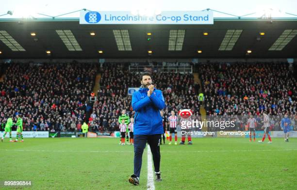 Lincoln City manager Danny Cowley applauds the fans prior to the Sky Bet League Two match between Lincoln City and Forest Green Rovers at Sincil Bank...