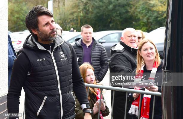 Lincoln City manager Danny Cowley arriving at the ground prior to the Sky Bet League Two match between Crawley Town and Lincoln City at...