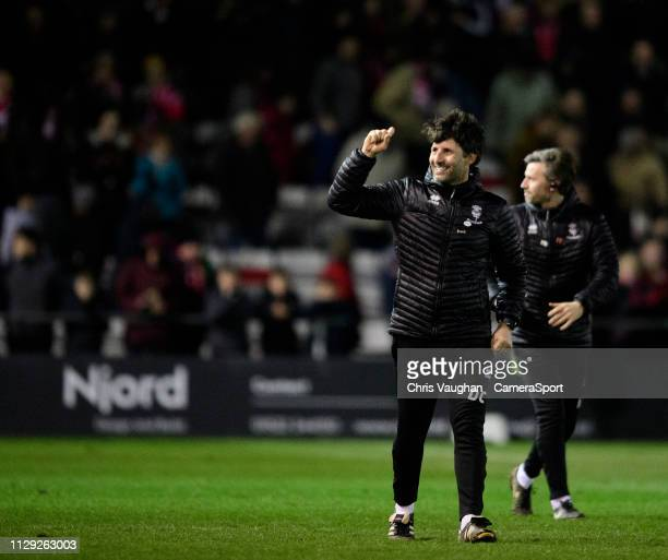 Lincoln City manager Danny Cowley celebrates following the Sky Bet League Two match between Lincoln City and Yevoil Town at Sincil Bank Stadium on...