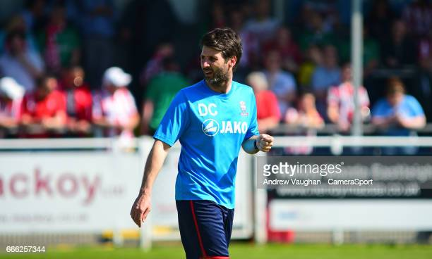 Lincoln City manager Danny Cowley during the pre-match warm-up prior to the Vanarama National League match between Eastleigh and Lincoln City at...