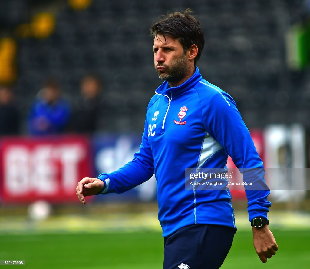 Lincoln City manager Danny Cowley during the pre-match warm-up prior to the Sky Bet League Two match between Notts County and Lincoln City at Meadow Lane on September 23, 2017 in Nottingham, England.