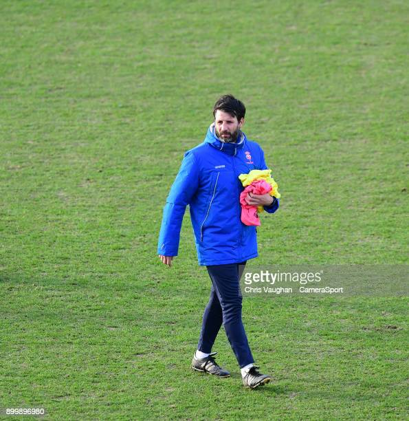 Lincoln City manager Danny Cowley during the prematch warmup prior to the Sky Bet League Two match between Lincoln City and Forest Green Rovers at...