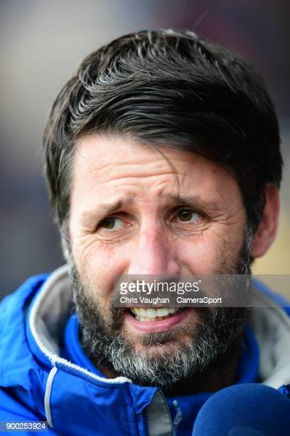 Lincoln City manager Danny Cowley during the prematch warmup prior to the Sky Bet League Two match between Luton Town and Lincoln City at Kenilworth...