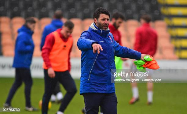 Lincoln City manager Danny Cowley during the prematch warmup prior to the Sky Bet League Two match between Barnet and Lincoln City at The Hive on...