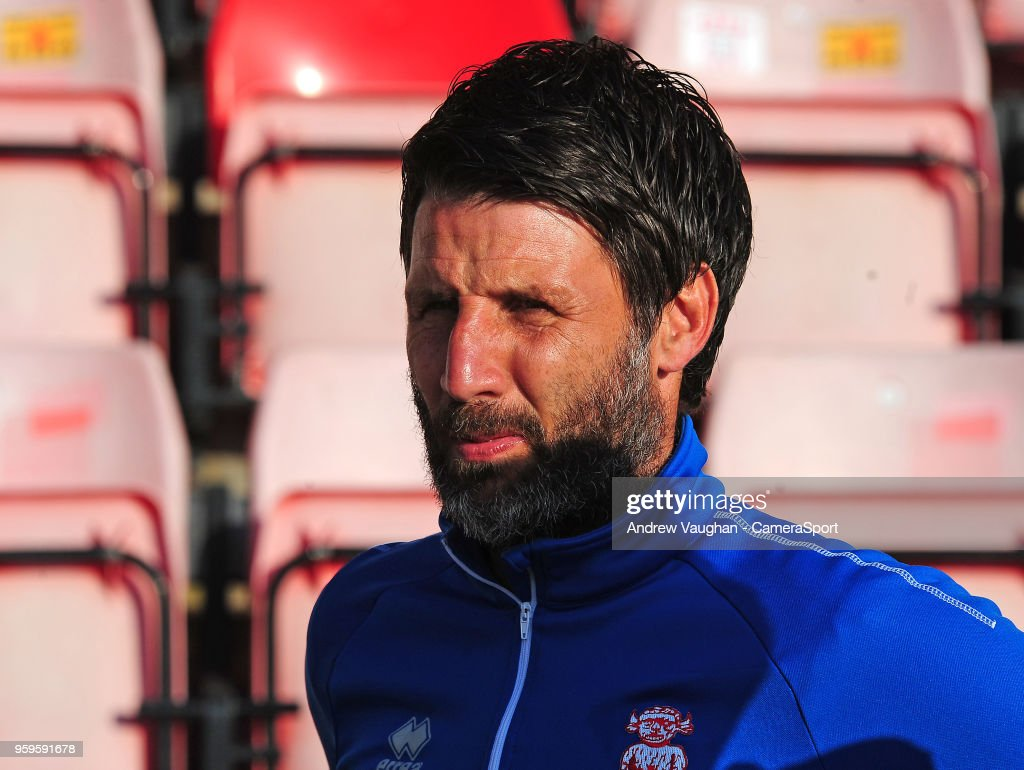 Lincoln City manager Danny Cowley during the pre-match warm-up prior to the Sky Bet League Two Play Off Semi Final:Second Leg between Exeter City and Lincoln City at St James Park on May 17, 2018 in Exeter, England.
