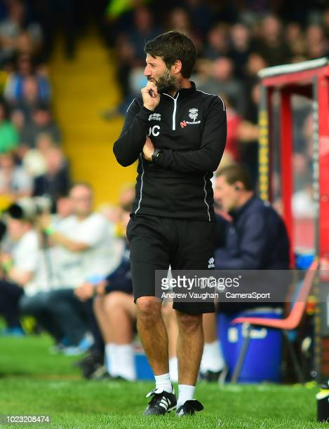 Lincoln City manager Danny Cowley during the Sky Bet League Two match between Lincoln City and Notts County at Sincil Bank Stadium on August 25 2018...