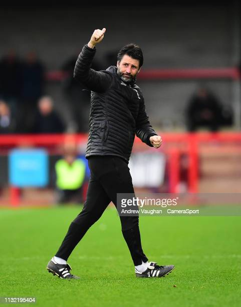 Lincoln City manager Danny Cowley during the Sky Bet League Two match between Crawley Town and Lincoln City at Checkatradecom Stadium on March 23...