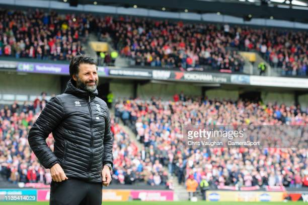 Lincoln City manager Danny Cowley during the Sky Bet League Two match between Milton Keynes Dons and Lincoln City at Stadium mk on April 6 2019 in...