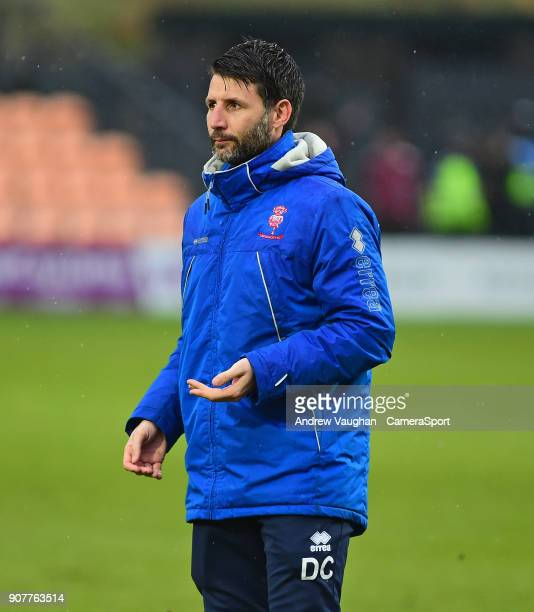 Lincoln City manager Danny Cowley during the Sky Bet League Two match between Barnet and Lincoln City at The Hive on January 20 2018 in Barnet England