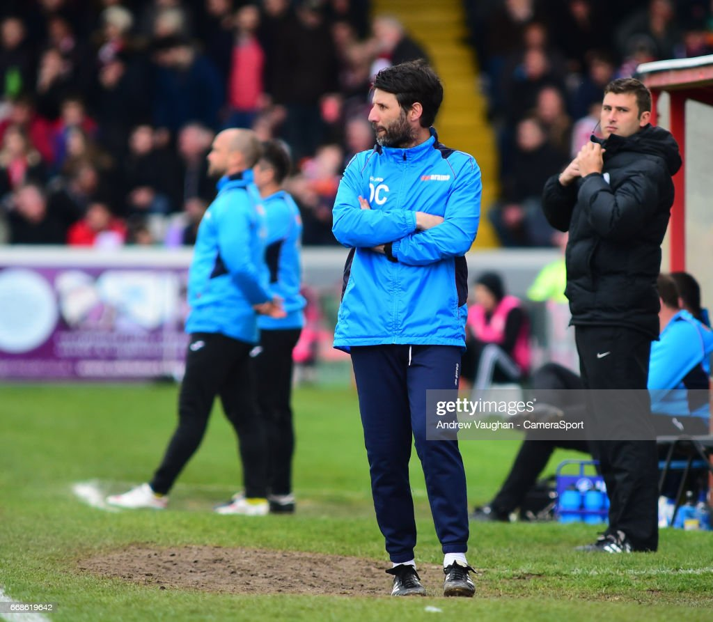 Lincoln City manager Danny Cowley during the Vanarama National League match between Lincoln City and Torquay United at Sincil Bank Stadium on April 14, 2017 in Lincoln, England.