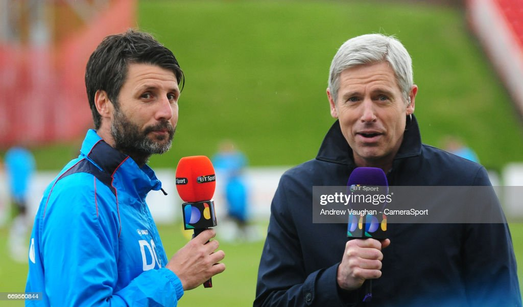 Lincoln City manager Danny Cowley is interviewed by BT Sport's Matt Smith before kick off during the Vanarama National League match between Gateshead and Lincoln City at on April 17, 2017 in Gateshead, England.