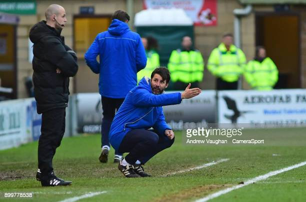 Lincoln City manager Danny Cowley shouts instructions to his team from the technical area during the Sky Bet League Two match between Lincoln City...