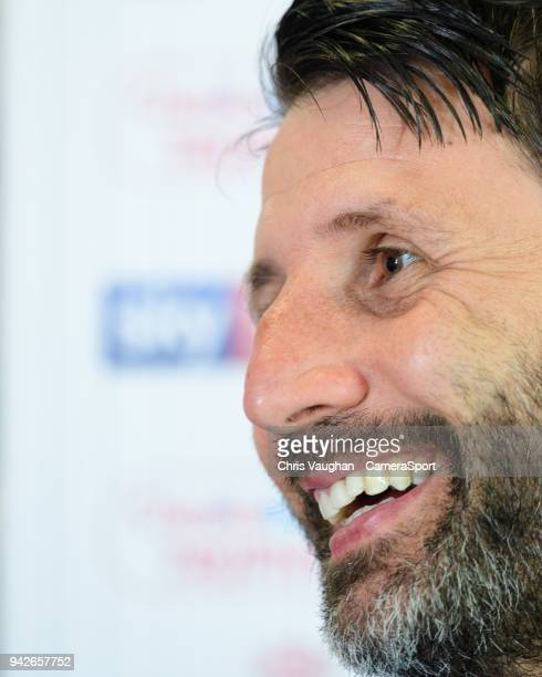 Lincoln City manager Danny Cowley speaks to the media ahead of the EFL Checkatrade Trophy Final on April 6 2018 in Lincoln England