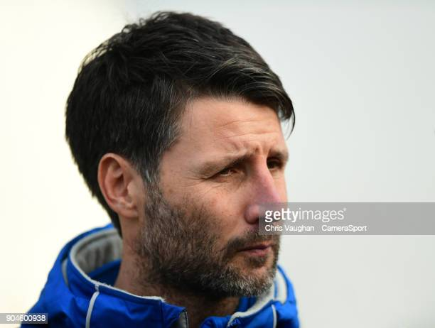 Lincoln City manager Danny Cowley speaks to the media prior to the Sky Bet League Two match between Lincoln City and Notts County at Sincil Bank...