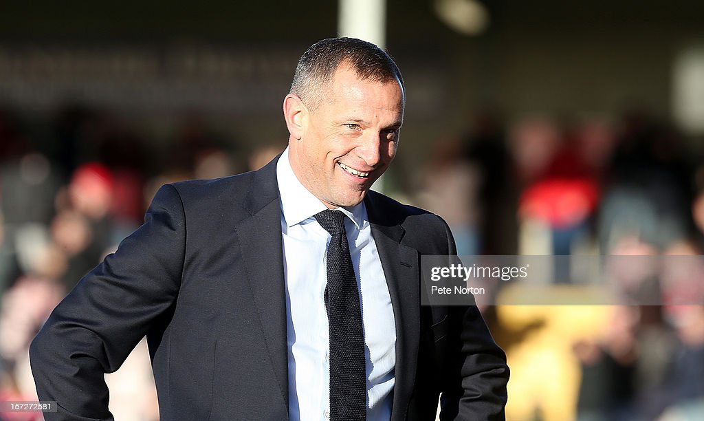 Lincoln City manager David Holdsworth looks on during the FA Cup with Budweiser Second Round match at Sincil Bank Stadium on December 1, 2012 in Lincoln, England.