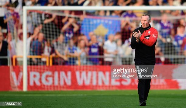 Lincoln City manager Michael Appleton applauds the fans following the Sky Bet League One match between Lincoln City and Ipswich Town at LNER Stadium...