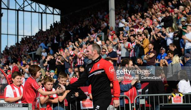 Lincoln City manager Michael Appleton prior to the Sky Bet League One match between Lincoln City and Ipswich Town at LNER Stadium on September 18,...