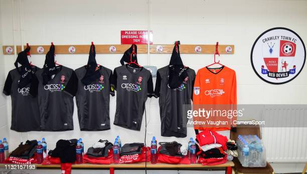 Lincoln City shirts hung up in the changing room prior to the Sky Bet League Two match between Crawley Town and Lincoln City at Checkatradecom...