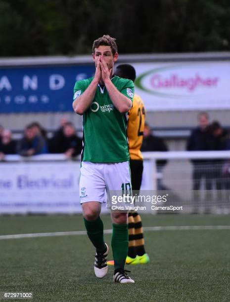 Lincoln City's Adam Marriott reacts after hitting the post during the Vanarama National League match between Maidstone United and Lincoln City at...