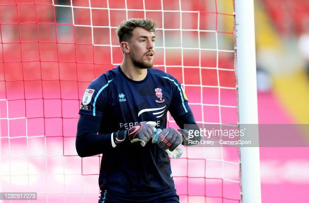 Lincoln City's Alex Palmer during the Sky Bet League One match between Lincoln City and Hull City at Sincil Bank Stadium on April 24, 2021 in...