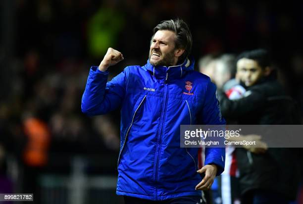 Lincoln City's assistant manager Nicky Cowley celebrates the win following the Sky Bet League Two match between Lincoln City and Forest Green Rovers...