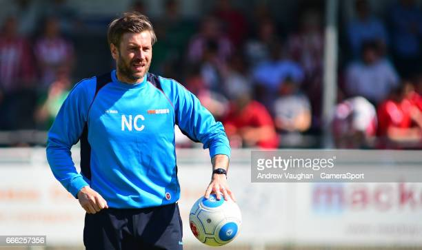 Lincoln City's assistant manager Nicky Cowley during the pre-match warm-up prior to the Vanarama National League match between Eastleigh and Lincoln...