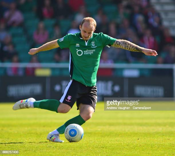 Lincoln City's Bradley Wood during the Vanarama National League match between Eastleigh and Lincoln City at Silverlake Stadium on April 8, 2017 in...