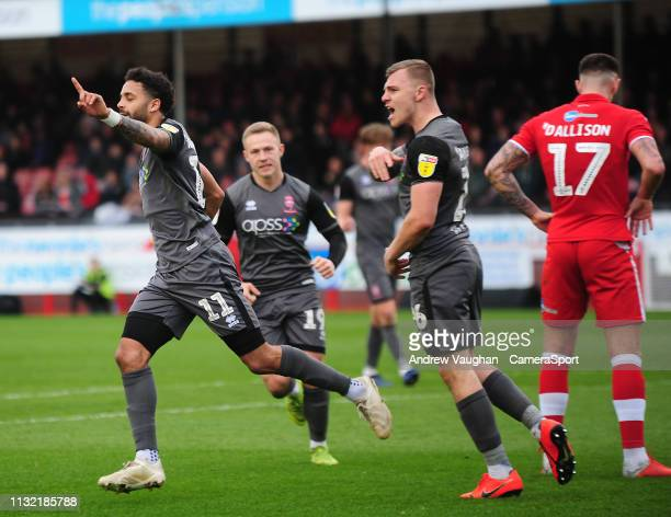 Lincoln City's Bruno Andrade celebrates scoring the opening goal during the Sky Bet League Two match between Crawley Town and Lincoln City at...