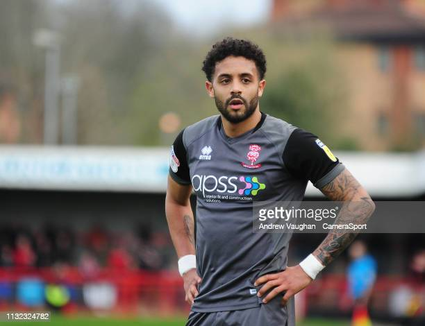 Lincoln City's Bruno Andrade during the Sky Bet League Two match between Crawley Town and Lincoln City at Checkatradecom Stadium on March 23 2019 in...
