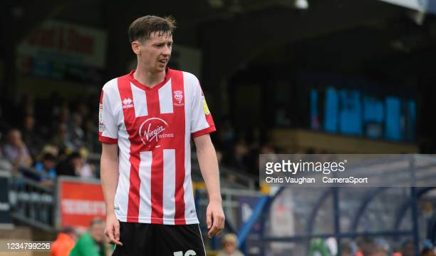 Lincoln City's Conor McGrandles during the Sky Bet League One match between Wycombe Wanderers and Lincoln City at Adams Park on August 21, 2021 in...
