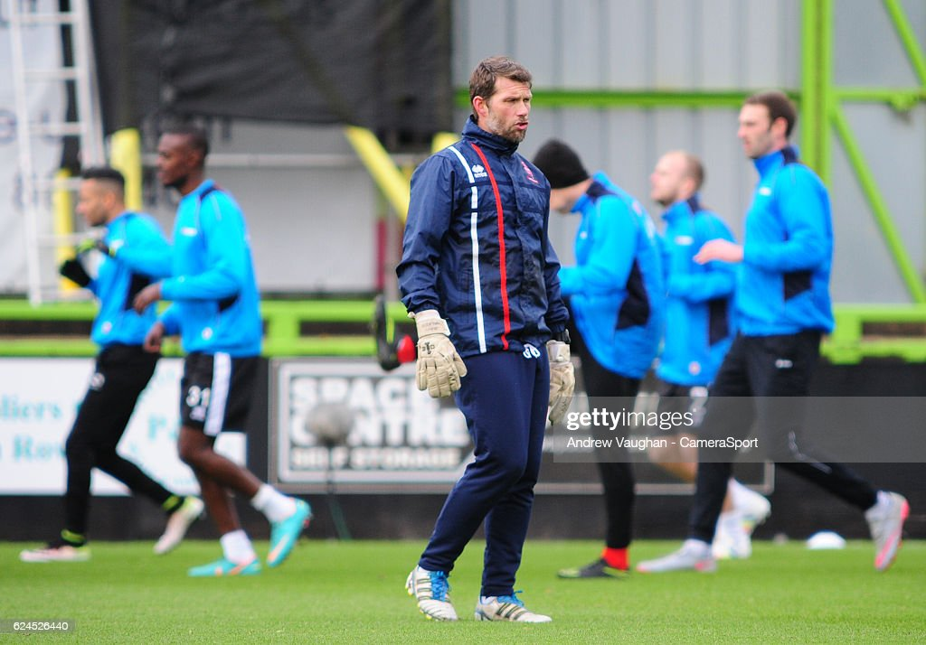 Lincoln Citys goalkeeping coach Jimmy Walker during the pre-match warm-up before the Vanarama National League match between Forest Green Rovers and Lincoln City at on November 19, 2016 in Nailsworth, England.