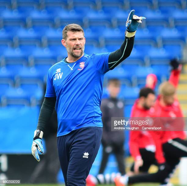 Lincoln City's goalkeeping coach Jimmy Walker during the prematch warmup prior to the Sky Bet League Two match between Chesterfield and Lincoln City...
