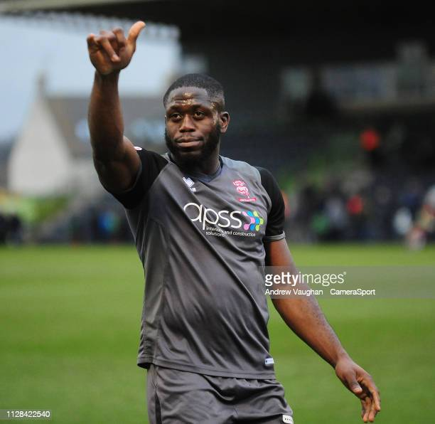 Lincoln City's John Akinde acknowlesges the fans following the Sky Bet League Two match between Forest Green Rovers and Lincoln City at The New Lawn...